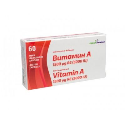 PhytoPharma Vitaminas A, 60 kapsulių