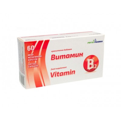 PhytoPharma Vitaminas B12, 60 kapsulių