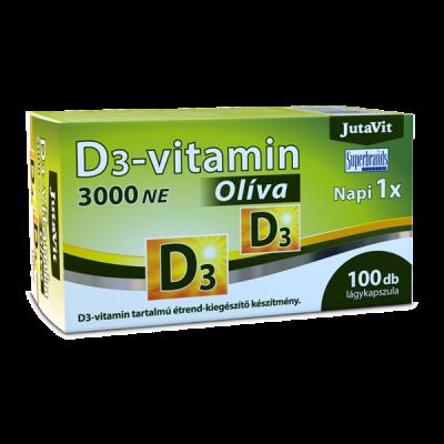 JutaVit vitaminas D 75 mcg 3000 TV su alyvuogių aliejumi, 100 kapsulių
