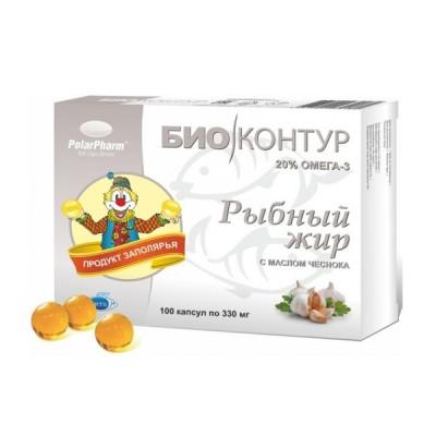 Biokontur žuvų taukai su česnakų aliejum, 100 kapsulių
