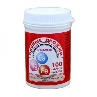 Eko-Mon alaus mielės su kalciu, magniu ir geležimi, 100 tablečių