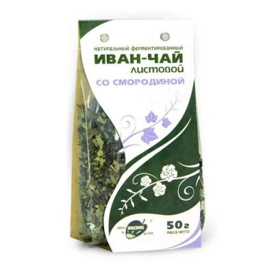 """Žolelių arbata """"Ivan-Čai"""" fermentuoti siauralapio gauromečio lapai su juoduoju serbentu, 50 g"""
