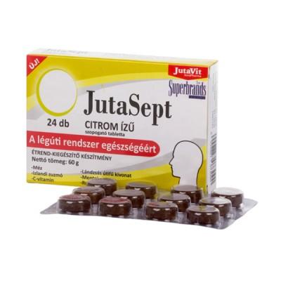 JutaVit JutaSept citrinų skonio pastilės su islandine kerpena, gysločiu, rozmarinu ir vitaminu C, 24 pastilės