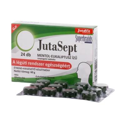 JutaVit JutaSept mėtų skonio pastilės su mentoliu, eukaliptais, šalavijumi ir vitaminu C, 24 pastilės