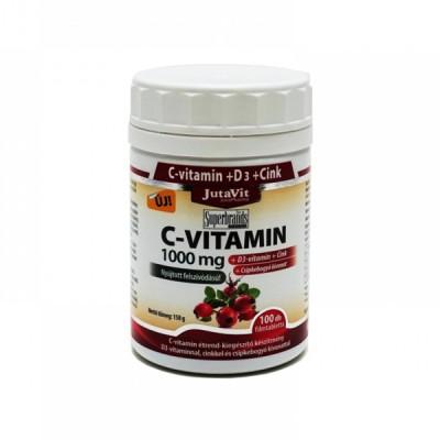 JutaVit vitaminas C 1000 mg + D3 + cinkas + erškėčių ekstraktas