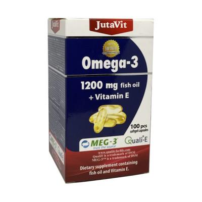 JutaVit žuvų taukai omega 3 1200 mg + vitaminas E, 100 kapsulių