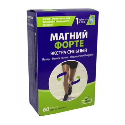 Magnis forte extra strong mg + B6 + B12 + folio rūgštis + C, 60 tablečių