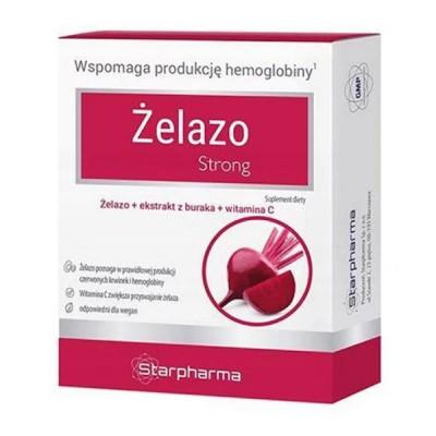Starpharma geležis strong su burokėlių milteliais, 30 kapsulių