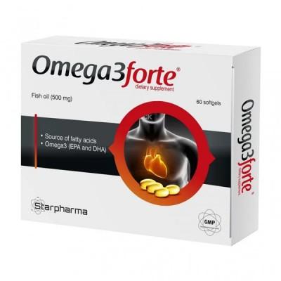 Starpharma omega 3 forte žuvų taukai, 60 kapsulių